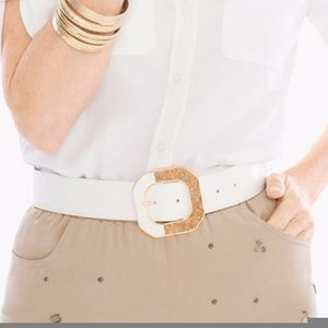 Chico's Womens Belt S White Gold Angelica Cork